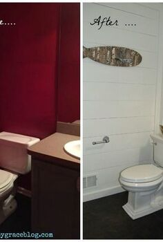 from red and dark to white and bright bathroom makeover, bathroom ideas, diy, painted furniture, painting