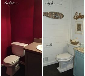 From Red And Dark To White And Bright Bathroom Makeover, Bathroom Ideas,  Diy,