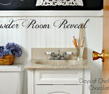 powder room redo, bathroom ideas, chalkboard paint, diy, home decor, paint colors