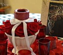 a valentine s day tablescape romantic heart centerpiece of red roses, seasonal holiday decor, valentines day ideas
