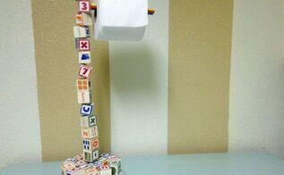 blocked up diy wooden letter block toilet paper roll holder, bathroom ideas, repurposing upcycling