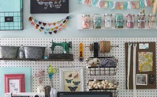 a pegboard gallery wall for my office craft room, craft rooms, crafts, organizing, wall decor