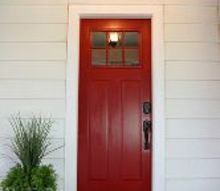 new red front door at the flip house, curb appeal, diy, doors, painting