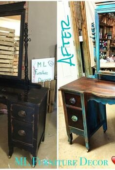 antique vanity refinishing a 35 garage sale find, chalk paint, painted furniture, Before After