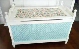 mod podge toy box transformation, chalk paint, decoupage, painted furniture, Finished