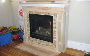 fireplace makeover wood to gas, fireplaces mantels, home improvement, Tile complemented my French color palette