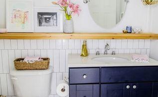 modern makeover transforms simple bathroom, bathroom ideas, home decor, painted furniture, tiling