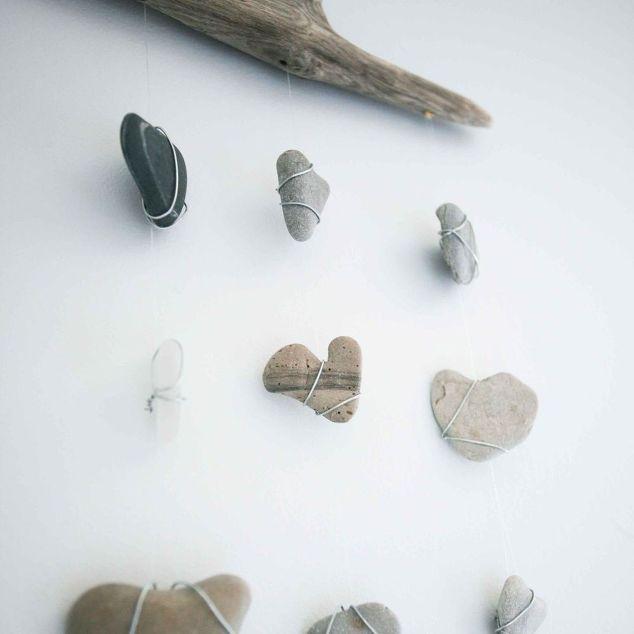 Diy Nautical Decor Heart Rocks And Sea Glass Mobile Hometalk