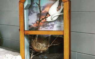 upcycle and old clock to a spring shadowbox, crafts, repurposing upcycling