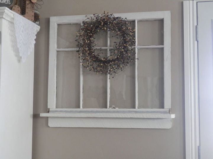 Repurposed old window to shelf decoration hometalk for Ideas for old windows pictures
