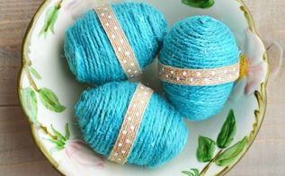 diy twine eggs, crafts, easter decorations, seasonal holiday decor