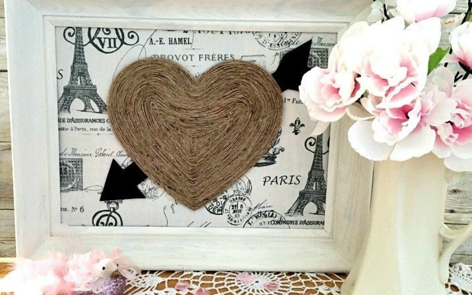s how 13 dumpster divers decorate for valentine s day, repurposing upcycling, seasonal holiday decor, valentines day ideas, Romantic Twine Design from a Wood Heart Sign
