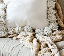 diy drop cloth pom pom pillows, crafts, how to, reupholster