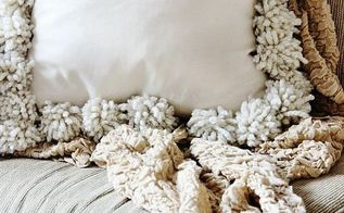 diy drop cloth pom pom pillows, crafts, how to, reupholster