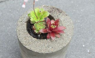 make your own concrete planters from recycling, concrete masonry, gardening, how to, repurposing upcycling