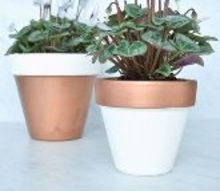 copper dipped planter pots, container gardening, crafts