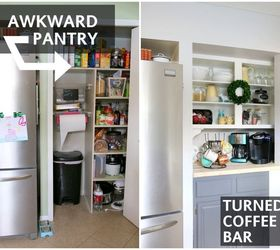 Kitchen Cabinets Recycled Into The Closet Source · Kitchen Pantry Converted  To A Coffee Bar Hometalk