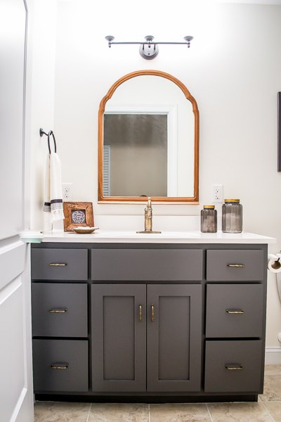 Farmhouse inspired bathroom makeover hometalk for Small bathroom upgrade ideas