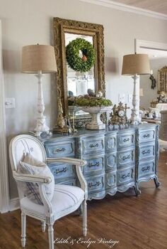 a blue french provincial dresser, chalk paint, painted furniture