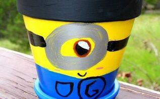 minion flower pot, container gardening, crafts, gardening