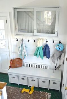 homemade mudroom, diy, foyer, organizing, repurposing upcycling, storage ideas