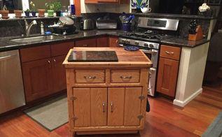 a little and thrifty kitchen island on wheels, kitchen design, kitchen island, painted furniture