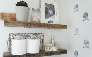 diy rustic bathroom shelves, bathroom ideas, diy, rustic furniture, shelving ideas