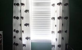 custom buffalo curtains for kid s room from inexpensive ikea curtains, bedroom ideas, crafts, window treatments, windows