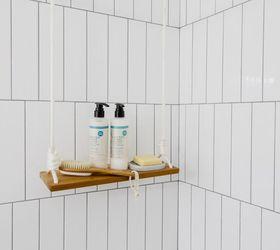 hang a swing shelf in the shower or anywhere bathroom ideas diy shelving