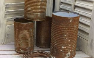 rusty tin can planters, container gardening, crafts, gardening, repurposing upcycling