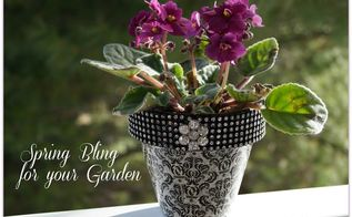 spring bling for your garden, container gardening, crafts, decoupage, gardening