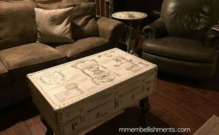 old moldy luggage turned b e a u ti ful french inspired coffee table, painted furniture, shabby chic