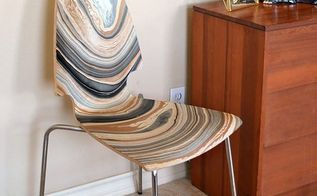 marbled chair makeover, decoupage, painted furniture