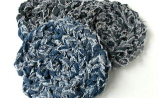 how to crochet denim trivets with denim yarn, crafts