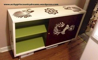 reverse stenciled credenza, painted furniture