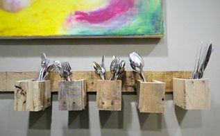 pallet wood wall mount silverware holder, diy, kitchen design, organizing, pallet, storage ideas, wall decor, woodworking projects