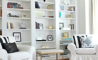 create the look of high end built in bookcases on an empty wall, dining room ideas, repurposing upcycling, shelving ideas, woodworking projects
