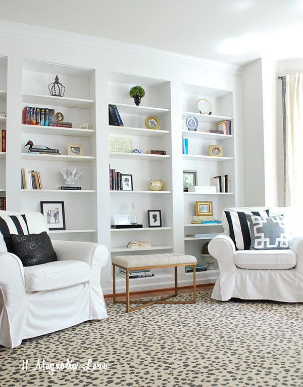 Blank Wall Ideas Dining Room : Create the look of high end built in bookcases on an empty