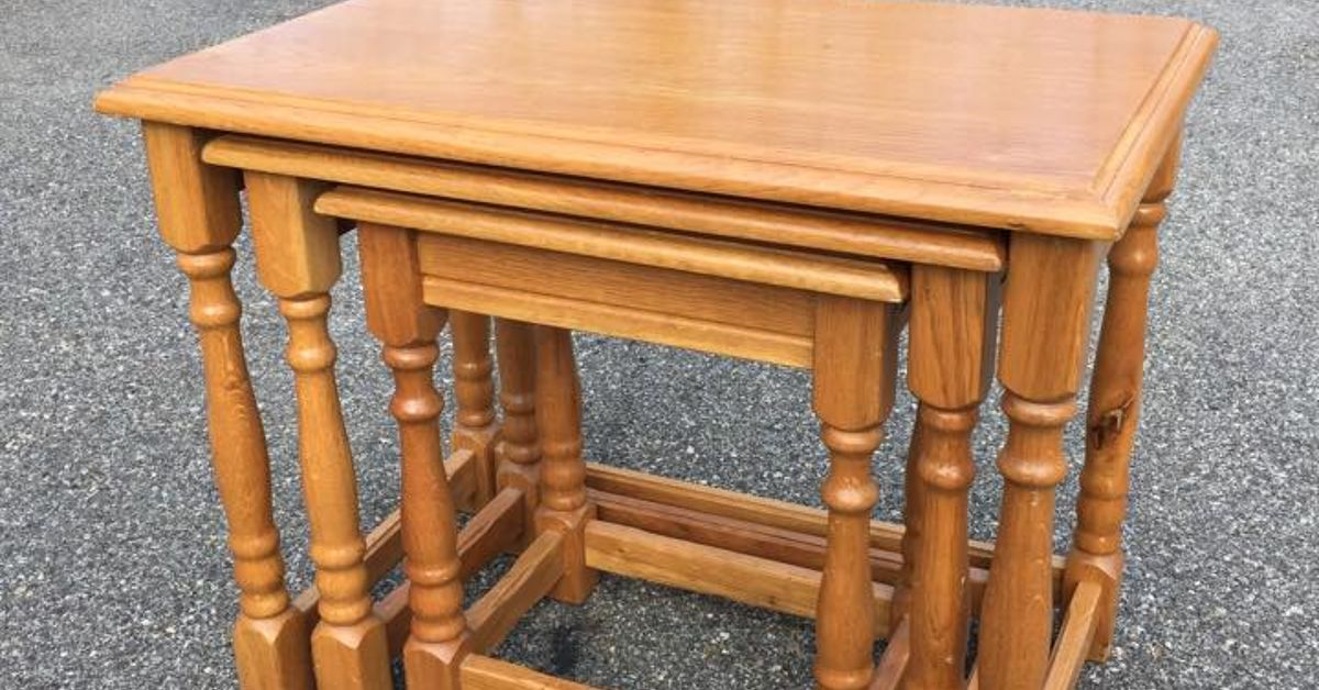 Oak Furniture Projects ~ Wood burning toasted oak stacking tables hometalk