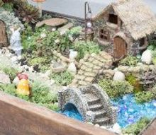 upcycled gnome garden, gardening, repurposing upcycling