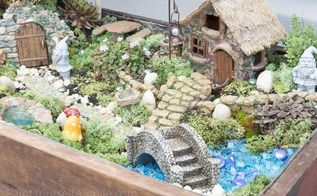 upcycled gnome garden, gardening, repurposing upcycling
