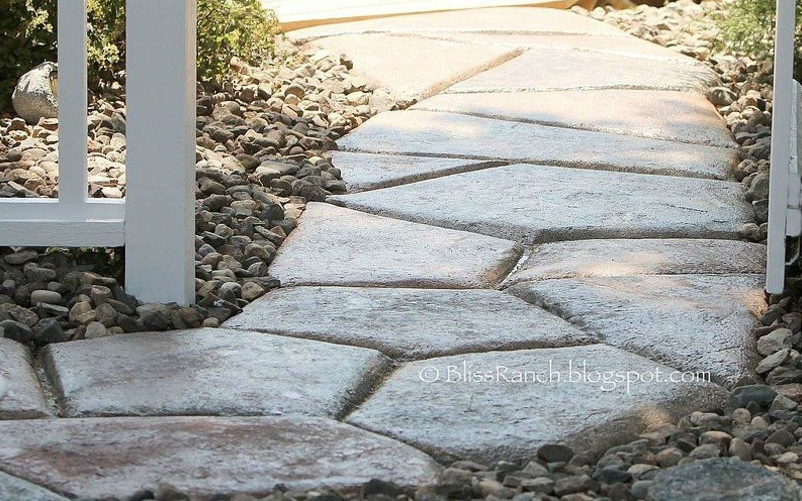s 9 budget ways to make your walkway look even better than last year, concrete masonry, gardening, Shape a pretty stone walk from concrete