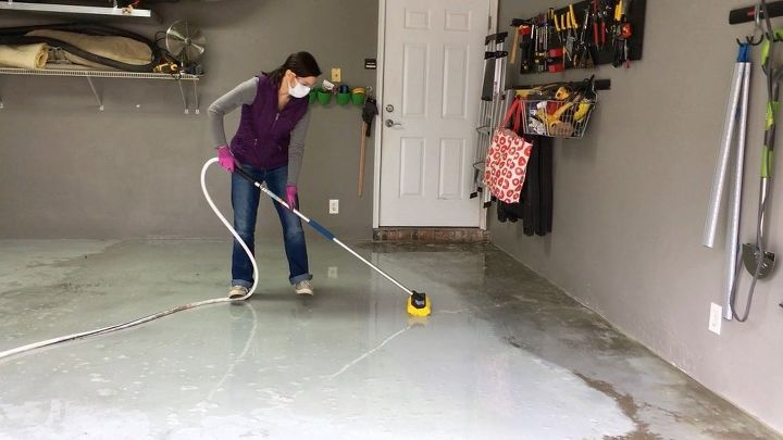 Garage floor metallic coating hometalk for Diy garage floor cleaner