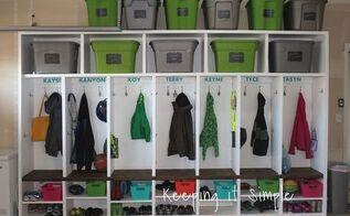 diy garage mudroom lockers with lots of storage garageorganization, diy, foyer, shelving ideas, woodworking projects