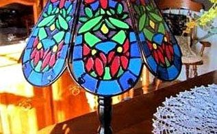 make a faux tiffany lamp from a thrift store find, crafts, lighting