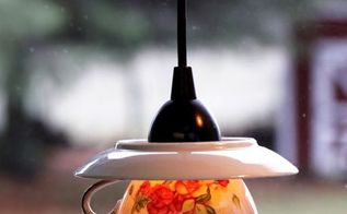 teacup pendant shades, lighting, repurposing upcycling, wall decor