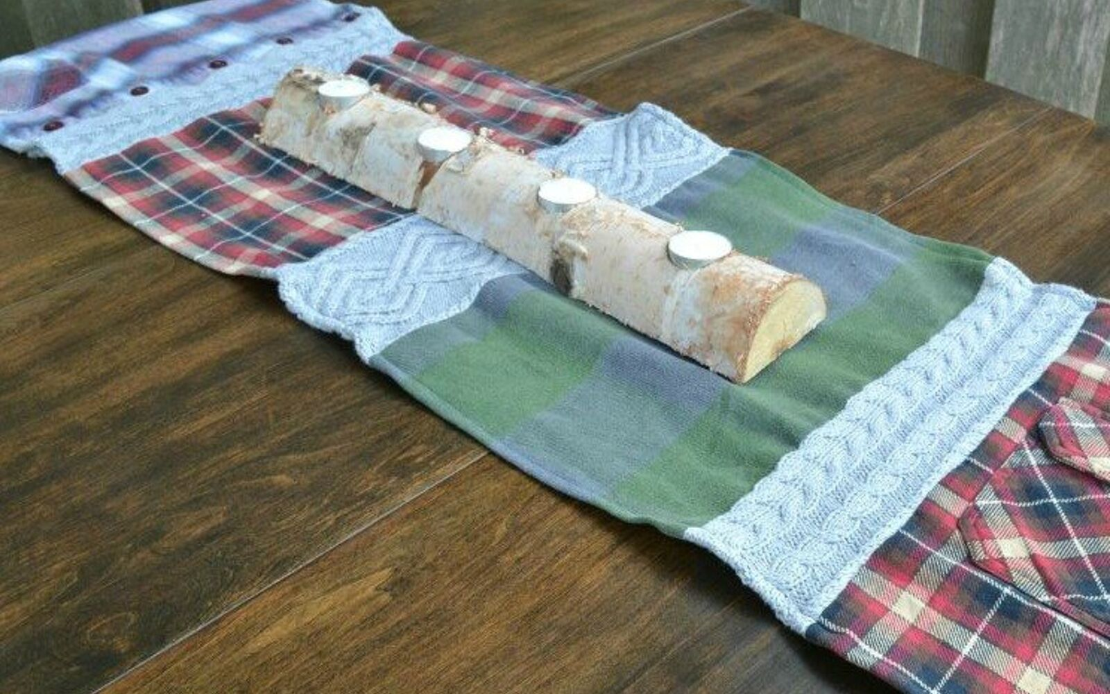 s 15 reasons not to trash your ugly worn out sweaters, crafts, repurposing upcycling, Sew bits together into a warm table runner