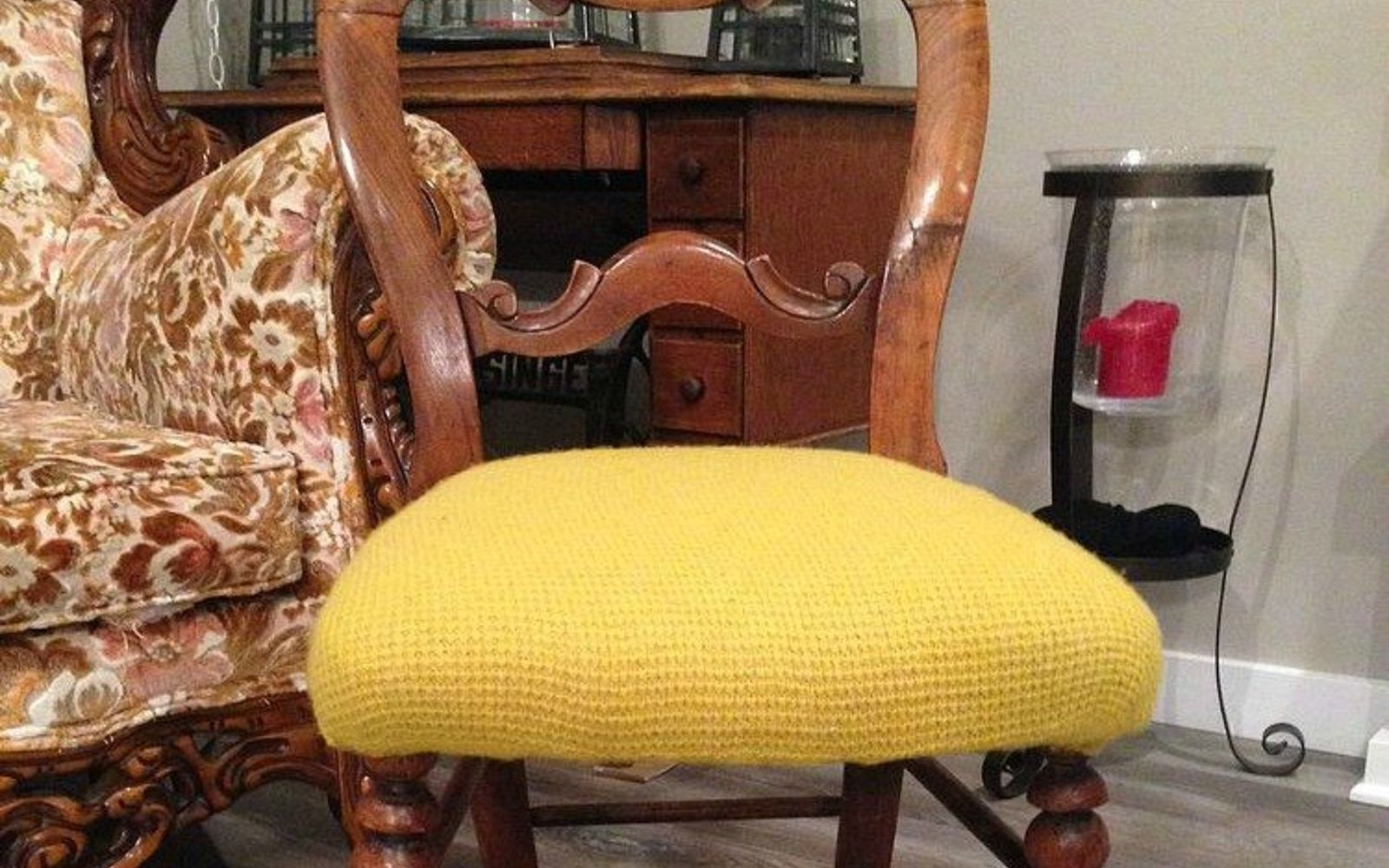 s 15 reasons not to trash your ugly worn out sweaters, crafts, repurposing upcycling, Use a shrunken shrug to update a ratty chair