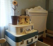 vintage suitcase table, painted furniture, repurposing upcycling
