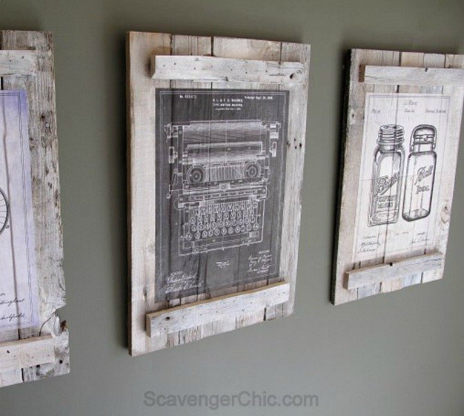 Use pallets to fill walls with vintage art. 20 Ways to Get a Fixer Upper Makeover  Without Being on the Show